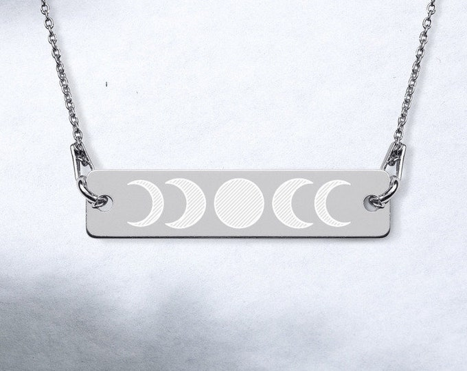 Engraved Sterling Silver Bar Chain Necklace - Moon Phase Necklace - available in 4 colors