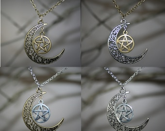 Pentacle and Moon Pendant