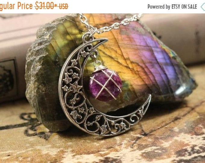Lepidolite Crescent Moon Necklace for Stress