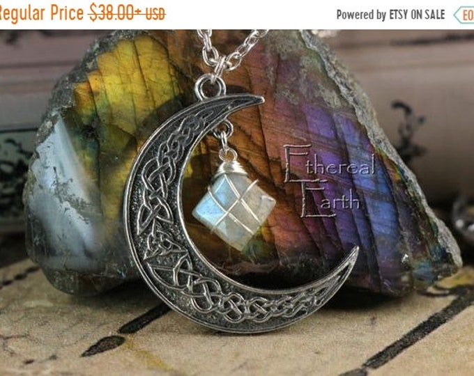 Labradorite Crescent Moon Necklace to Assist Through Life Changes
