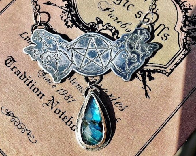 Sterling silver pentacle and Labradorite Wiccan Necklace