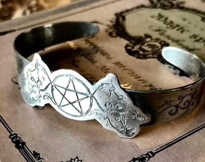 Sterling Silver Pentacle cuff bracelet