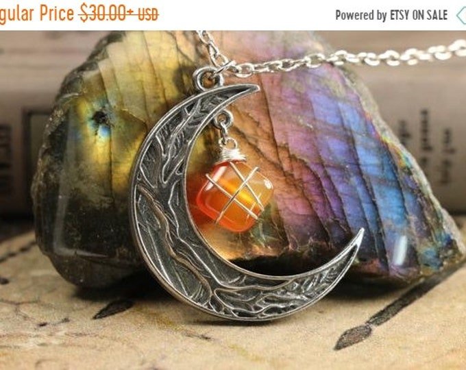 Carnelian Crescent Moon Necklace for Root Chakra