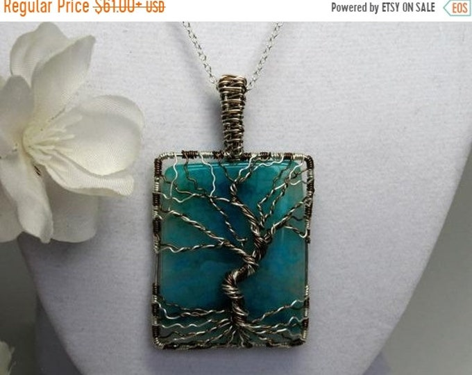 Sterling Silver and Bronze Aqua Agate Tree of Life Necklace