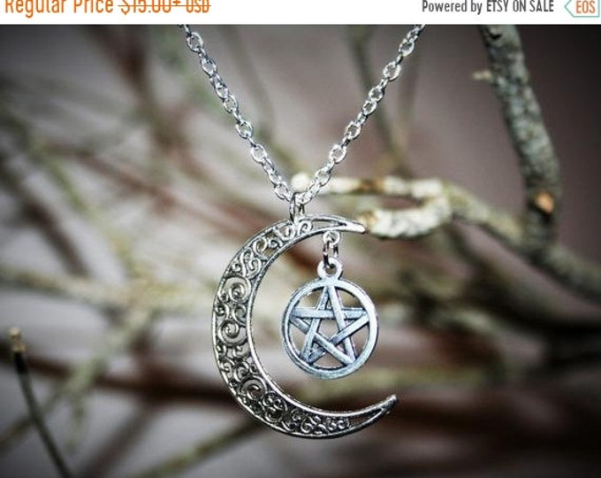 Jewelry Sale Wiccan jewelry Moon Pentacle Necklace  - Occult Jewelry Silver Pagan New Age Pentagram Witch Jewelry unisex women men witchcraf