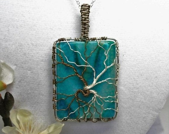 Silver and Bronze Aqua Agate Tree of Life Necklace with Heart