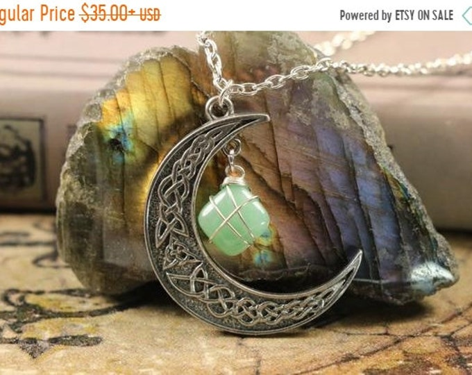 Aventurine Crescent Moon Necklace for Good Luck