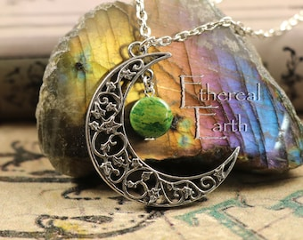 African Jade Crescent Moon Necklace for Dreams