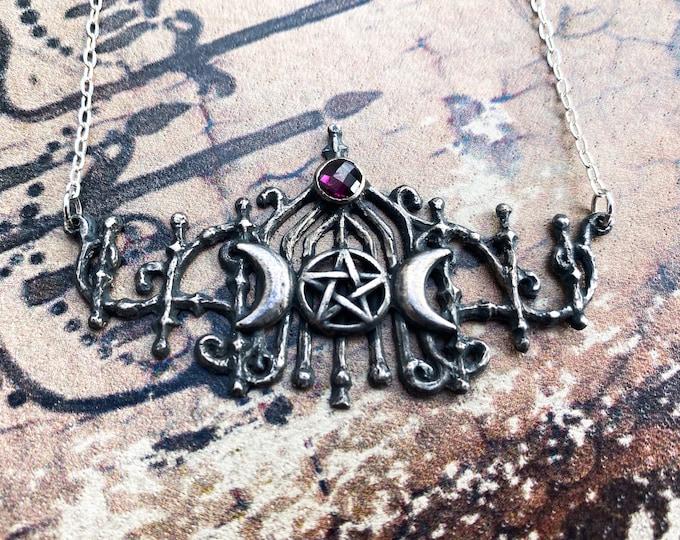 Rhodochrosite triple moon gothic gate necklace