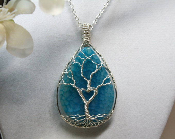 Hand Wrapped Aqua Agate Tree of Life with Heart Necklace