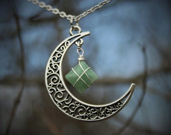 Aventurine Moon Necklace for Confidence