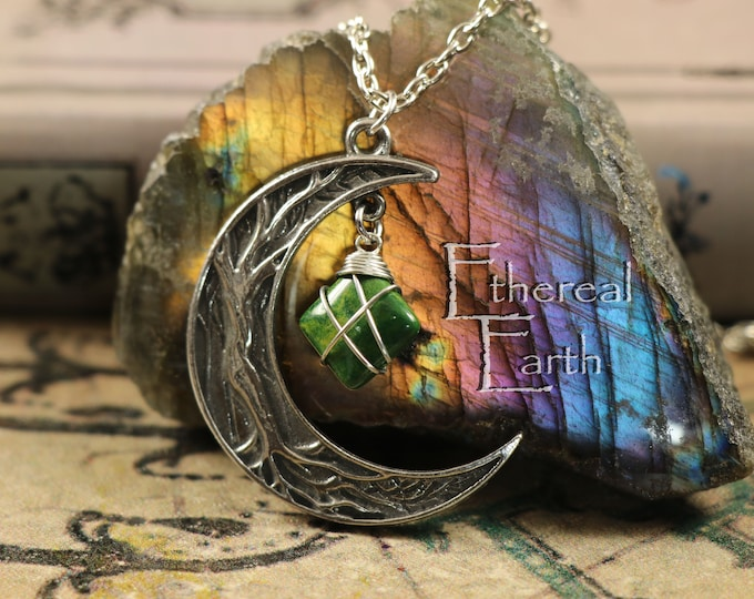 African Jade Crescent Moon Necklace for Stability