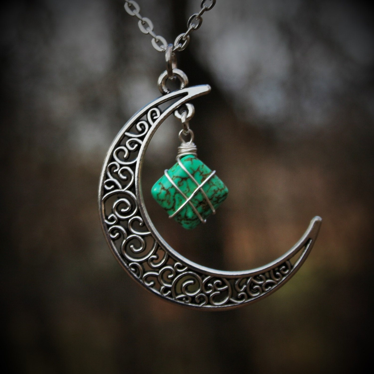 Green Turquoise Silver Wire wrapped - stone Necklace - Crescent moon ...