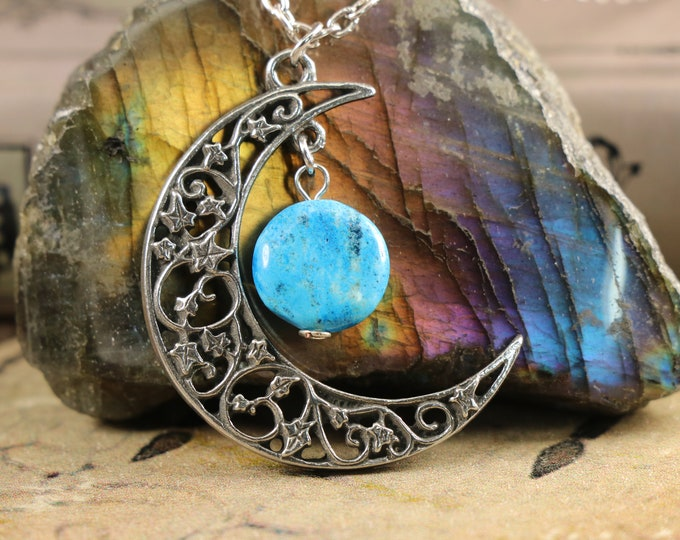 Brazilian Agate Crescent Moon Necklace to Cleanse Aura
