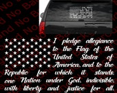 Many Colors - Pledge of Allegiance USA American Flag National Anthem Vinyl Die Cut Decal Sticker Jeep Off Road Star Spangled Banner US019