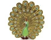 29mm Toshikane PEACOCK Bird Flat Back Tile トシカネ Hand Painted Arita Porcelain Mint Green Gold Brown Art Jewelry Making Cab NOT a BUTTON