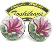 Toshikane LOTUS Earrings Pink Flower of Rebirth Enlightenment Green Lily Pads Foliage White Ceramic HandPainted Arita Porcelain 950 Silver