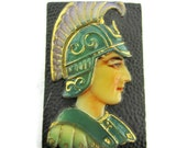 Toshikane CENTURION Flat Back Tile Ancient Roman Military Officer Soldier Lilac Green Black Hand Painted Japanese Arita Porcelain NOT BUTTON