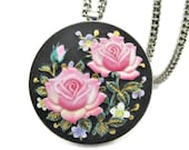 Toshikane Pink Roses Brooch Necklace Purple Forget-Me-Nots Green Foliage Black Circle Pin HandPainted Arita Porcelain Heavy 925 Silver Chain