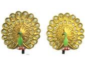 Toshikane PEACOCK Earrings Clip-on Bird Flat Back Hand Painted Arita Porcelain Mint Green Ceramic Gold Brown Colorful Kojima Art Jewelry