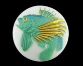 Toshikane Fish button Green Koi with Gold Accents on White Background Micro Art Hand Painted Japanese Arita Porcelain For Jewelry or Sewing