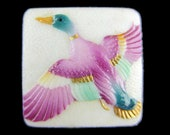 Toshikane Flying Duck button Purple Pink Wings Green Body Gold Beak Hand Painted Arita Porcelain Japanese Microart Jewelry or Sewing