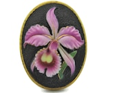 Toshikane Purple ORCHID Oval Tile Arita Porcelain Floral Green Leaves Fuchsia Gold Yellow Hand Painted Botanical Black Ceramic NOT BUTTON