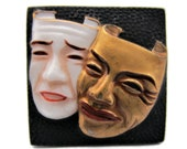 トシカネ Toshikane Comedy Tragedy Flat BackTile Japanese Hand Painted Arita Porcelain Square Black Gold White Ceramic Melpomene Thalia Masks