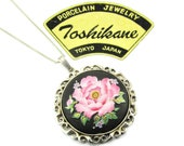 Toshikane Cornelia Rose Necklace Fluffly Pink Flower, Lilacs , buds Foliage Solid 925 Silver Bezel Japanese Hand Painted Arita Porcelain