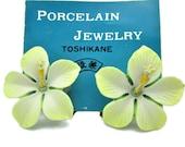 Toshikane HIBISCUS Earrings Hand Painted Arita Porcelain Flowers White Yellow Green Glazed Ceramic Figural Botanical 3D Kojima Art Jewelry