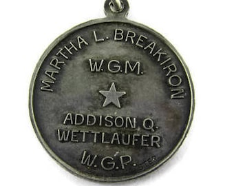 OES Eastern Star Charm/ Martha l Breakiron W.G.M Pendant/ Addison Q Wettlaufer W.P.G/ Order of the Eastern Star 1979 Sterling Silver Pendant