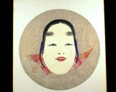 Ko-Omote Noh Mask Shikishi Board Silk Collage Mixed Media Young Lady handmade Picture Signed Japanese Noh Shikishi Repoussed Woman Face