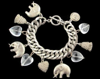 Elephant Lover Charm Bracelet/Faceted Clear Lucite Hearts Toggle Bracelet/ Pewter Tone Charm  Bracelet /  Round Curb Link Charm Bracelet