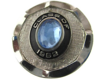 Class of 1982 Tie Tack/ Graduation Lapel Pin/ Round Silver tone Blue Rhinestone Pin