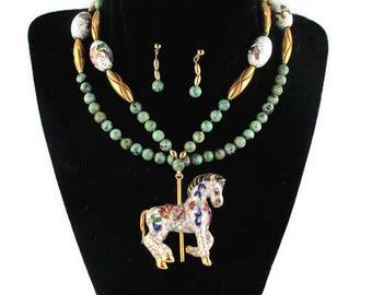African Turquoise Cloisonne Pony Set/ Tang Horse White Enamel Pendant/Carousel Equestrian/ Oriental Enamel Equine /Chinese  Enamel Flowers