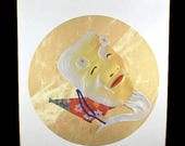 Okina Noh Mask Shikishi Board Silk Collage Mixed Media quot Selro Devil quot handmade Picture Signed Japanese Noh Old Man Face Shikishi Repoussed