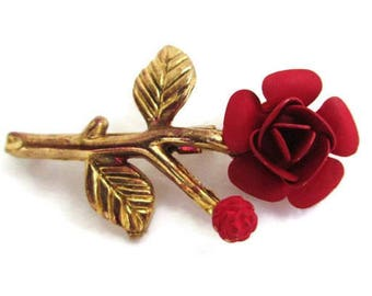 Vintage 1950s Matte Red Enamel Single Rose and Rosebud Brooch Pin