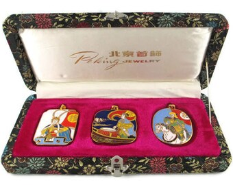 3 Chinese Opera Cloisonne  Pendants/Peking Jewelry Company /Beijing Arts Set/ Korvettes Oriental Enamel Stock/Silk Road Black Brocade Box