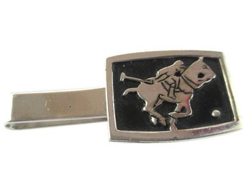 Polo Player Tie Bar/ Black Enamel Horse Tie Clip/Silver Tone Polo Player Horse Tie Clip/ Equestrian Polo Rhodium Finished Tie Bar