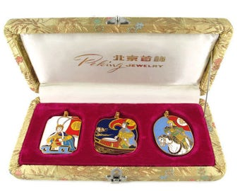 3 Chinese Opera Cloisonne  Pendants/The Peking Jewelry Company /Beijing Arts Set/ Korvettes Oriental Enamel Stock/Silk Road Gold Brocade Box