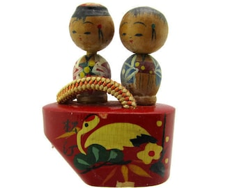 Maiko's okobo kokeshi dolls / Miniature Wood Kokeshi  / Petite Bobble Head Ornaments/Waraji Ningyo Figurines /Geta Shoe