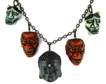 Amida Buddha Noh Play Necklace / Carved Green Hannya Noh Theater Masks Pendants / Shikami Japanese Noh Charm Necklace/Seiganji: The Buddhist