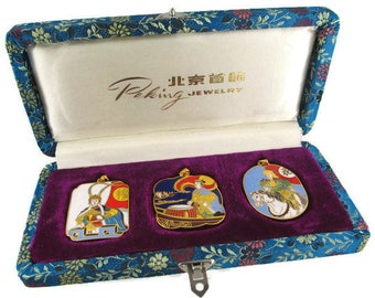 3 Chinese Opera Cloisonne  Pendants/The Peking Jewelry Company /Beijing Arts Set/ Korvettes Oriental Enamel Stock/Silk Road Blue Brocade Box
