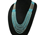 South Western Multistrand Necklace Faux Turquoise Glass Beads Faux Liquid Silver Bullet Beads Native American Style Hand Woven Jewelry