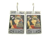 Toshikane CLEOPATRA Earrings Egyptian Queen of the Nile Lotus Flowers Temptress Hand Painted Arita Porcelain 14k White gold and 950 Silver