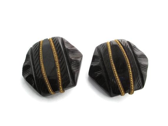 Art Deco Brown Bakelite & gold Tone Cloak Clasp S… - image 2