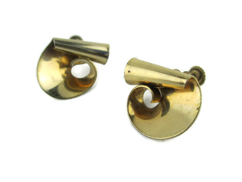 Vintage Retro  12k Gold Filled Screw Back  Earrings