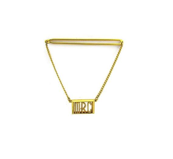Hockey Tie Clip Men/'s Vintage Tie Bar Hockey Sticks Design Gold Tone Mother of Pearl Handles