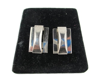 Art Deco Oblong Sterling Silver 925 Screw Back  Earrings