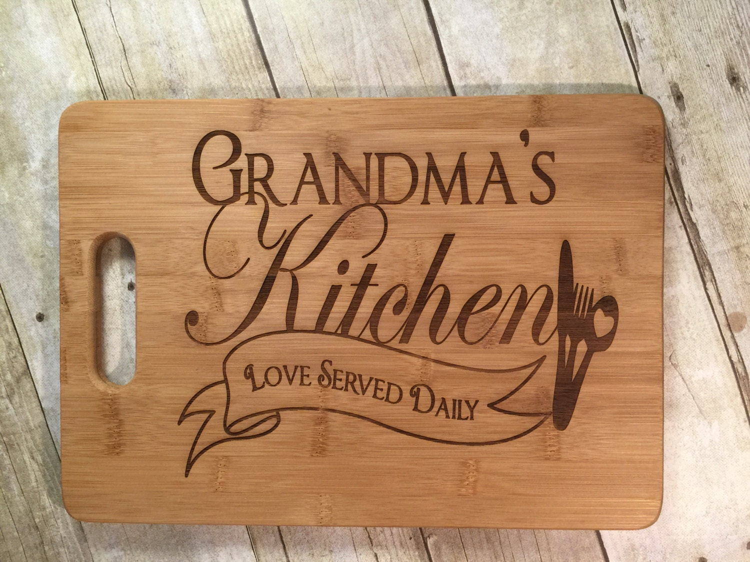 Grandma\'s Kitchen - LOVE Served Daily- Personalized Cutting Board ...